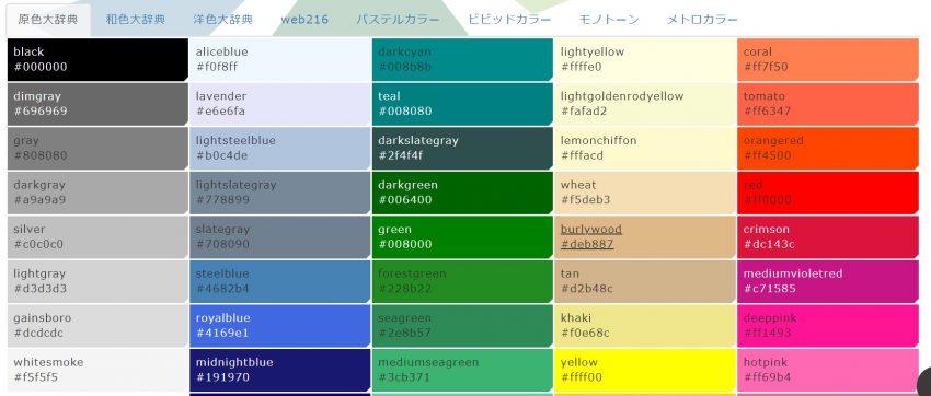 カラーコード一覧「原色大辞典」