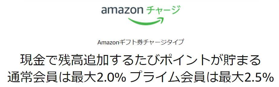 Amazonギフト券を現金でチャージするたびに最大2.5%のポイントが貯まるキャンペーン概要