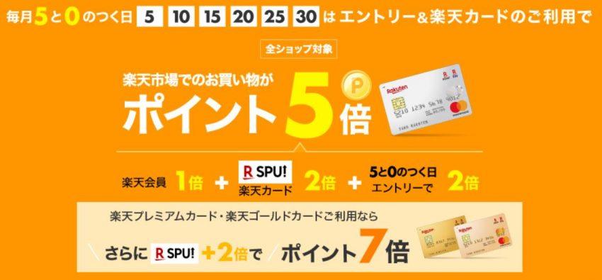 楽天カードは毎月5と0のつく日はポイント5倍-